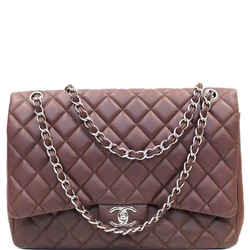 CHANEL Jumbo Double Flap Caviar Shoulder Bag Brown