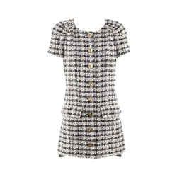 Chanel Blue White Linen Tweed Buttoned Mini Dress Sz 36