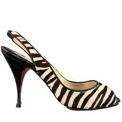 Christian Louboutin 7 Black & White Zebra Print Calf Hair Slingback Pumps