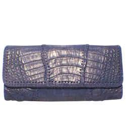 Carlos Falchi Blue Crocodile Patchwork Clutch