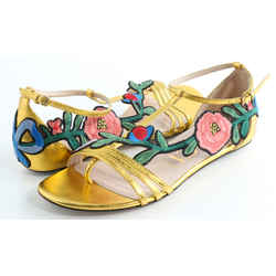 Gucci Leather Floral Embroidered Ophelia Flat Sandals
