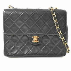 Auth Chanel Chanel Lambskin Mini Matrasse Coco Mark Chain Shoulder Bag Black