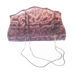 JUDITH LEIBER Nude to Brown Ombre Lizard Skin Purse Gold Straps