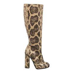 Python Horsebit Knee High Boots