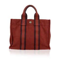 Hermes Paris Vintage Red Cotton Fourre Tout PM Tote Bag