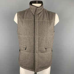 Ermenegildo Zegna L Taupe Pinstripe Leather Trimmed Reversible Vest