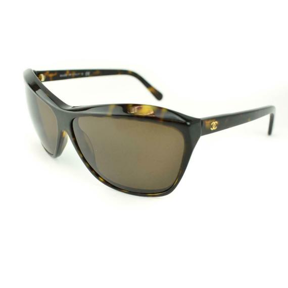 "CHANEL: Tortoise Brown & Gold ""CC"" Logo Polarized Sunglasses (mh)"