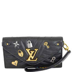 LOUIS VUITTON Love Lock New Wave Long Leather Wallet Black