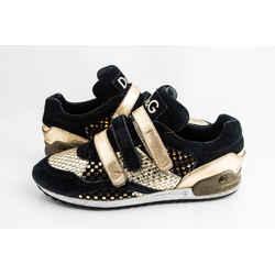 Dolce & Gabbana Black/Gold Velcro Strap Sneakers