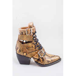 Chloe Gold Croc-Embossed Rylee Boots Size 36.5