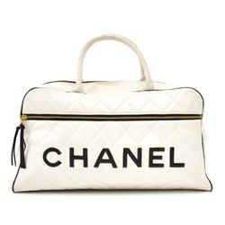 Vintage Chanel Sports Line White Quilted Calfskin Boston Travel Bag CH706