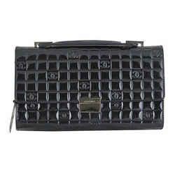 Chanel Cc Mirror Black Patent Medium Evening Clutch Bag