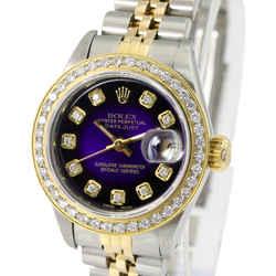 Rolex Lady Datejust Purple Vignette Diamond Dial Diamond Bezel 26mm -QUICKSET