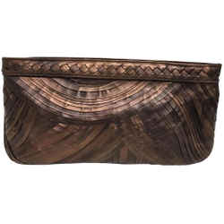 "Bottega Veneta Pleated Copper Leather Clutch 7""L x 13""W x 2.5""H Item #: 24626095"
