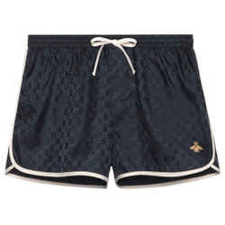 Gucci New Blue Large L Gg Monogram Nylon Bee Applique Swim Short Bathing Suit