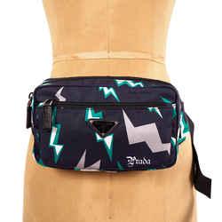 NEW $1,125 PRADA Frankenstein Blue Nylon Lighting Print Saffiano Leather Trim Belt Bag