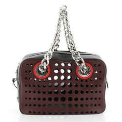 City Fori Chain Shoulder Bag Perforated Calfskin Small