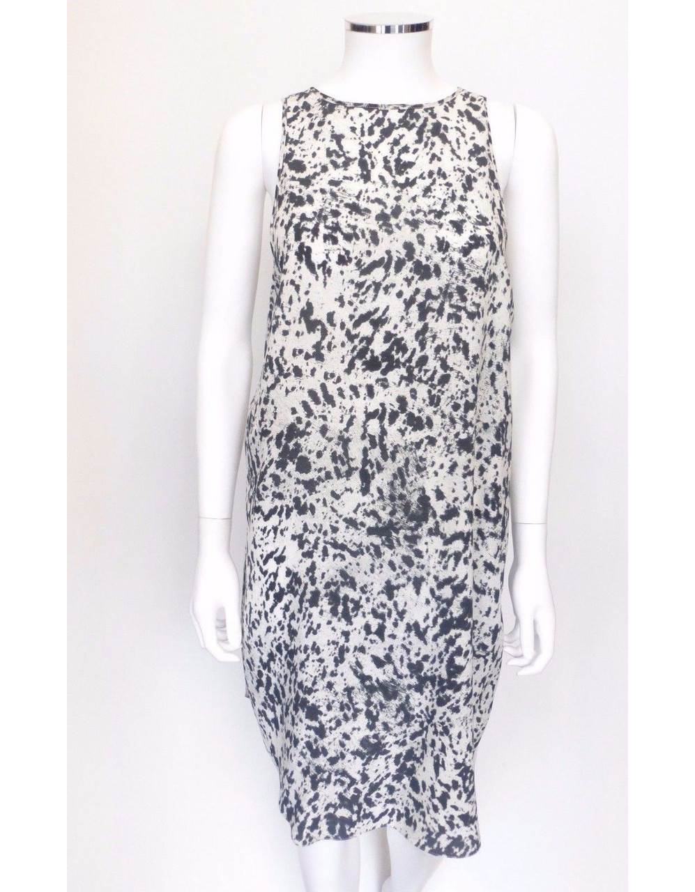Phillip Lim Black Gray Animal Print Silk Sundress Sz 2 Eur 36 Leprix