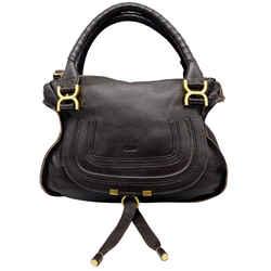 Chloe Marcie Small Dark Brown Leather Shoulder Bag