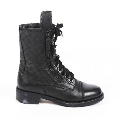 Chanel Quilted Leather CC Combat Boots