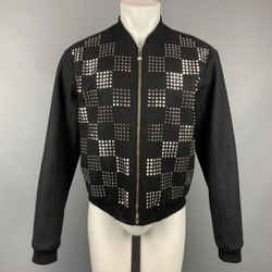VERSUS by GIANNI VERSACE Size 38 Black & Silver Studded Jacket