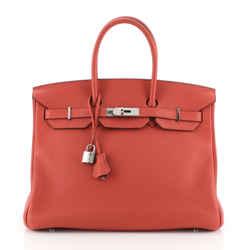 Birkin Handbag Geranium Clemence With Palladium Hardware 35