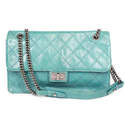 Chanel - Reissue 227 Large Teal Leather Flap Bag - Quilted Shoulder Silver Chain