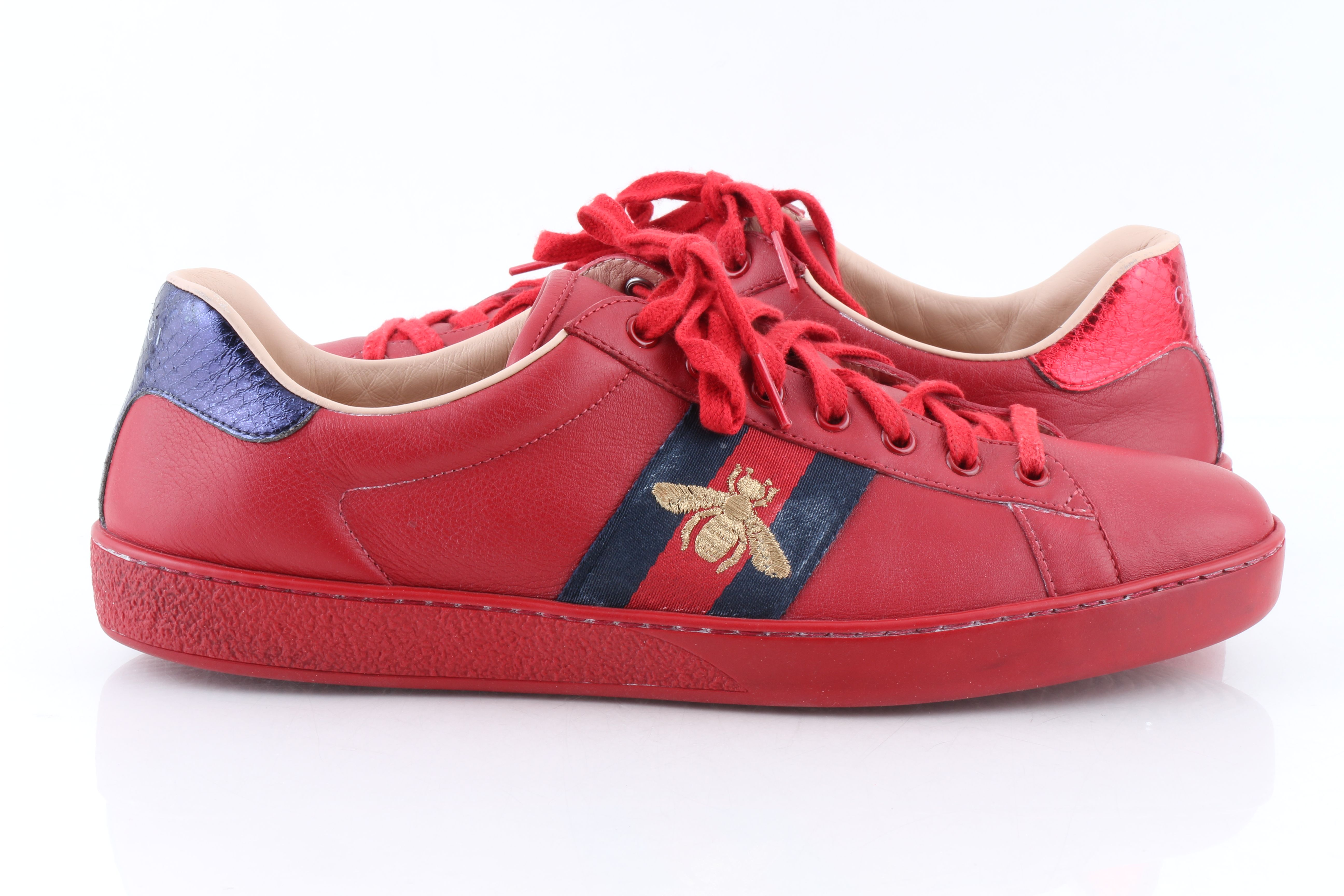 Gucci Men's New Red Ace Embroidered Low