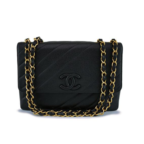 Chanel Black Quilted Vintage Caviar Logo Jumbo Flap Bag 24k Ghw