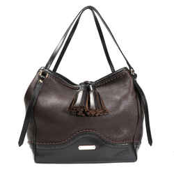 Burberry Chocolate Pebbled Leather Brogue Canterbury Bag