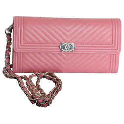 Chanel Boy Wallet on Chain Chevron Le Silver Cc 2016 Pink Leather Cross Body Bag