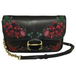 Polo Ralph Lauren Maddie Floral Embroidered Black Multi Leather Cross Body Bag