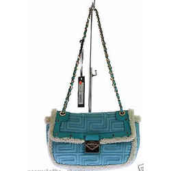 New Gianni Versace Couture Blue Quilted Shearling Leather Shoulder Bag