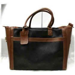 Christian Dior 872262 Black Brown Signature Oblique Monogram Trotter Travel Duffle XL