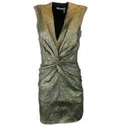 Lanvin Gold Metallic Glitter Sleeveless Mini Dress