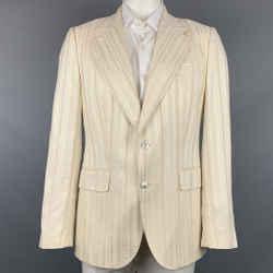 ROBERTO CAVALLI Size 44 Beige Jacquard Cotton Blend Sport Coat
