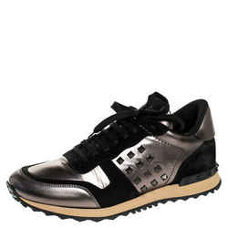 Valentino Metallic Grey Leather and Black Suede Rockrunner Stud Sneakers Size 43