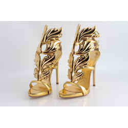 Giuseppe Zanotti Gold Coline Wings Suede 110mm Sandals
