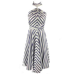 Carolina Herrera Size 0 White & Bllue Striped Cotton Gathered Halter Sun Dress