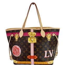 LOUIS VUITTON Neverfull MM Summer Trunk Monogram Canvas Shoulder Bag Brown