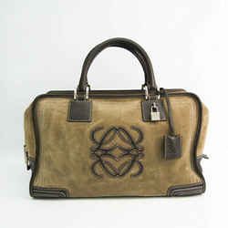 Loewe Amazona 32 Women's Leather,Suede Handbag Beige,Dark Brown BF528484