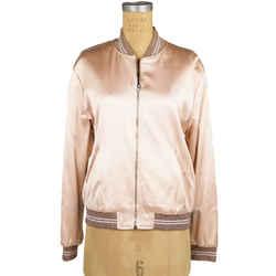 Saint Laurent Sz 42 New $2,790 Blush Pink Satin Sequin Love Patch Bomber Jacket
