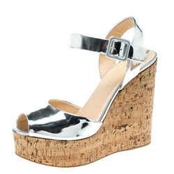 Giuseppe Zanotti Silver Patent Leather Cork Platform Wedge Sandals Size 37.5