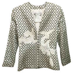 Dior Vintage Christian White and Black Embellished Blazer Size: 8 (M)