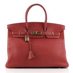 Birkin Handbag Rouge Vif Togo with Gold Hardware 35