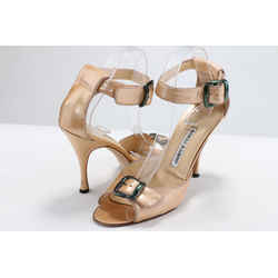 Manolo Blahnik Patent Leather Sandals - Gold