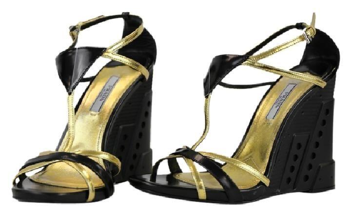 Prada Wedge-heel Black Sandals Wedges