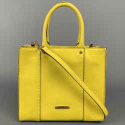 REBECCA MINKOFF Yellow Coated Canvas Shoulder Mini Bag