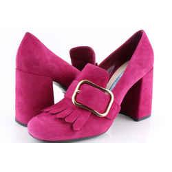 Prada Suede Kiltie Loafer Pumps Pink Sz Us 7.5 Authenticity Guaranteed