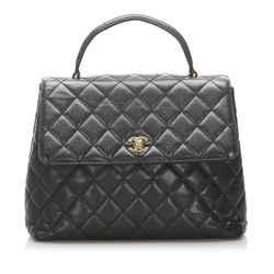 Vintage Authentic Chanel Black Caviar Leather Leather Kelly Handbag France